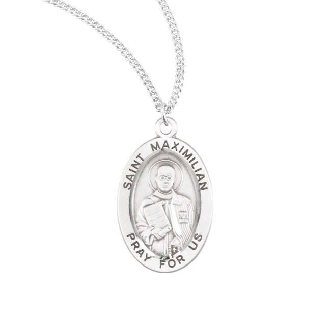 "HMH Religious Sterling Silver St. Maximillian Kolbe Medal-Pendant With 20"" Chain Necklace"