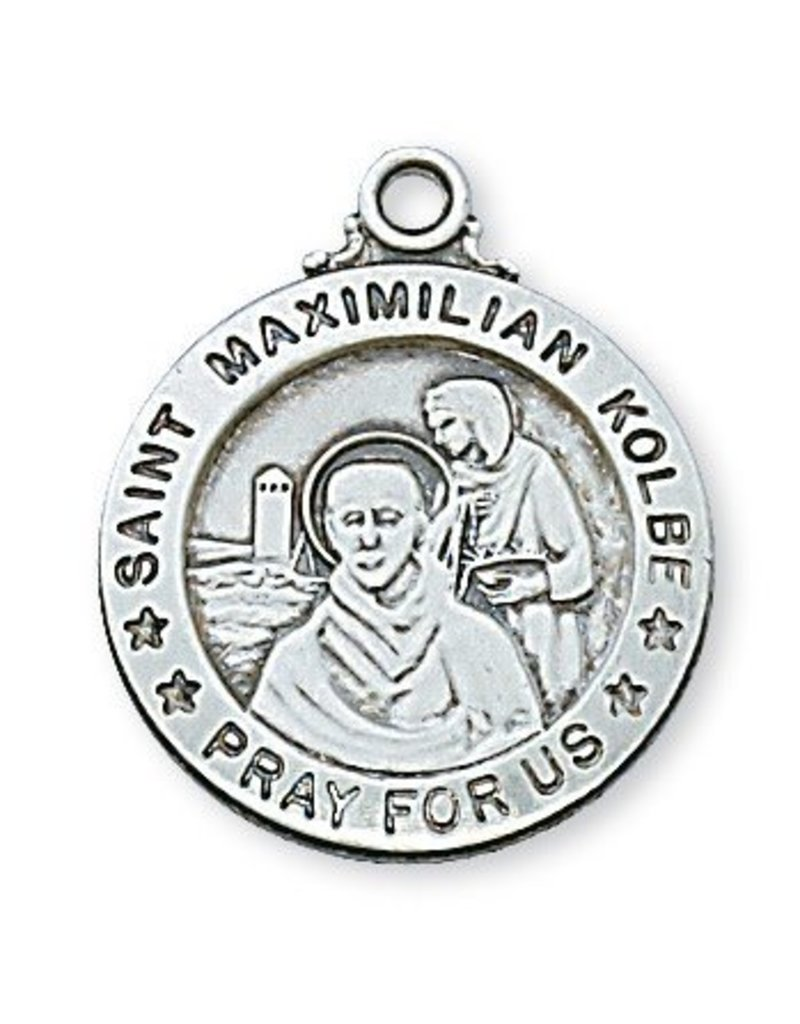 "McVan Sterling Silver Saint Maximillian Kolbe Medal-Pendant on 20"" Chain Necklace"