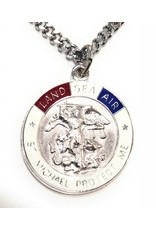 Wallace Brothers Manufacturing Sterling Silver St. Michael Land, Sea and Air Medal-Pendant With