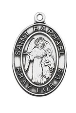 "McVan Sterling Silver St. Raphael Archangel Medal-Pendant With 24"" Chain Necklace"