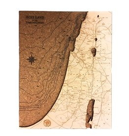 """Wood Chart Holy Land In The Time of Christ Wood & Cork Map 10.1"""" x 8"""" x 2.1"""""""