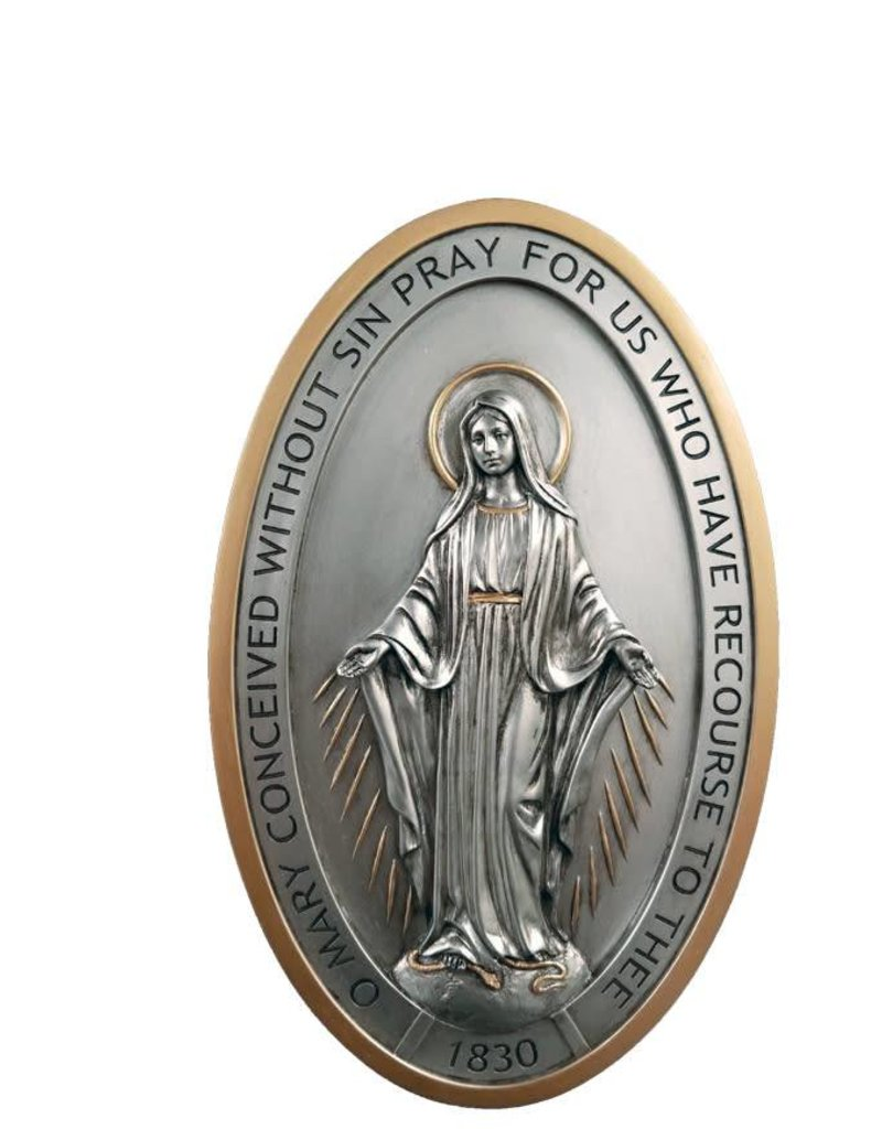 """Goldscheider of Vienna Miraculous Medal Plaque With Pewter Style Finish and Gold Trim 5"""" x 8"""""""