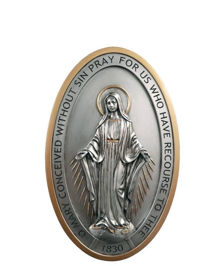 "Goldscheider of Vienna Miraculous Medal Plaque With Pewter Style Finish and Gold Trim 5"" x 8"""