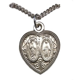 """HMH Religious Scapular Medal and Miraculous Medal Sterling Silver Heart Pendant Charm With 18"""" Chain Necklace"""