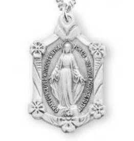 "HMH Religious Miraculous Medal Sterling Silver Pendant With 18"" Chain Necklace"