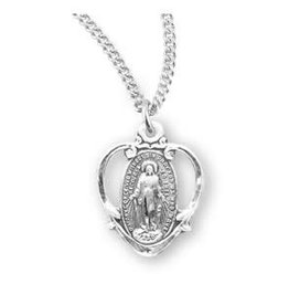 "HMH Religious Miraculous Medal Sterling Silver Pendant Heart Charm With 18"" Chain"