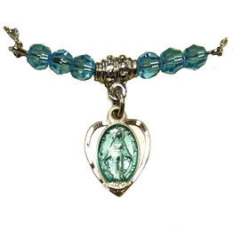 """Bliss Manufacturing Miraculous Medal Heart Charm and Austrian Crystals With 18"""" Chain Necklace"""
