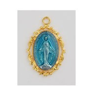 "McVan 18Kt Gold On Sterling Silver Blue Miraculous Medal With 18"" Chain Necklace"