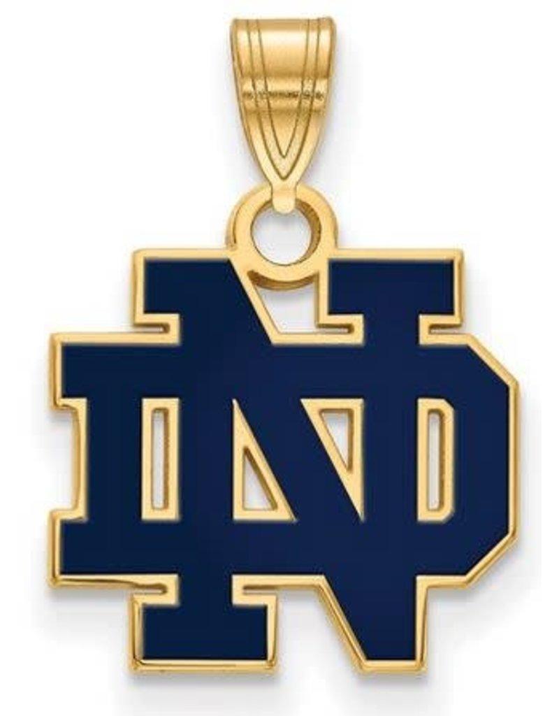 Quality Gold Inc. Blue University of Notre Dame Logo Pendant Gold Plated Fighting Irish Charm