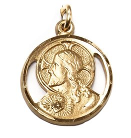 Bliss Manufacturing 14Kt Gold Filled Scapular Medal Pendant, Sacred Heart and Our Lady of Mount Carmel, No Chain