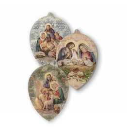 WJ Hirten Pendant Shaped Wood Christmas Tree Ornaments - Set of 3