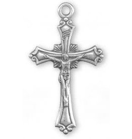 """HMH Religious Sterling Silver Crucifix Pendant with Scrolled Borders and Ray Burst 18"""" Chain"""