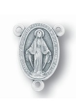 WJ Hirten Oval Miraculous Medal Silver Oxidized Rosary Centerpiece
