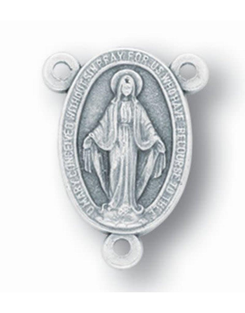 WJ Hirten Oval Miraculous Medal Silver Oxidized Rosary Centerpiece