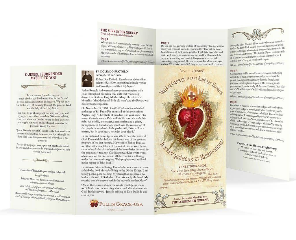 "Full of Grace USA The Surrender Novena Trifold Holy Card - Original Wallet Size (3"" X 5"")"