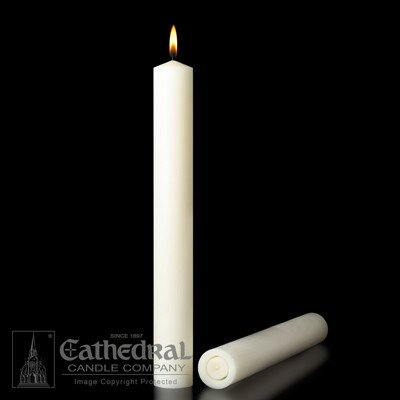 "Cathedral Candle Co. 1 1/2"" x 12"" 51% Beeswax Candle (All Purpose End, Box of 12)"