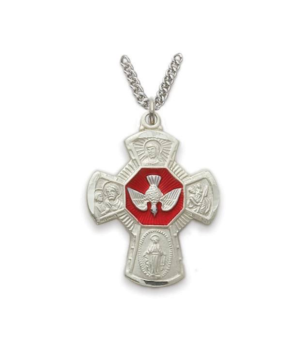 "Singer Mens Four Way Cross Pendant Sterling Silver with 24"" Chain Necklace"