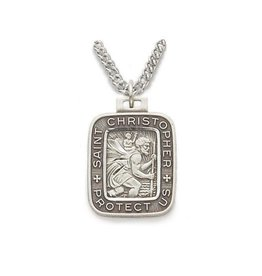 "Singer Rectangle St. Christopher Sterling Silver Medal Pendant 20"" Chain Necklace"
