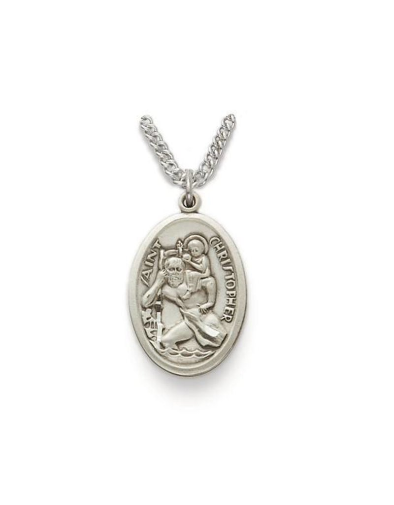 "Singer St. Christopher Sterling Silver Medal Pendant with 18"" Chain Necklace"