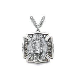 "Singer Fireman Badge St. Florian 24"" Chain Necklace"