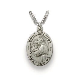 """Singer Sterling Silver St. Anthony Medal Pendant 24"""" Chain Necklace"""