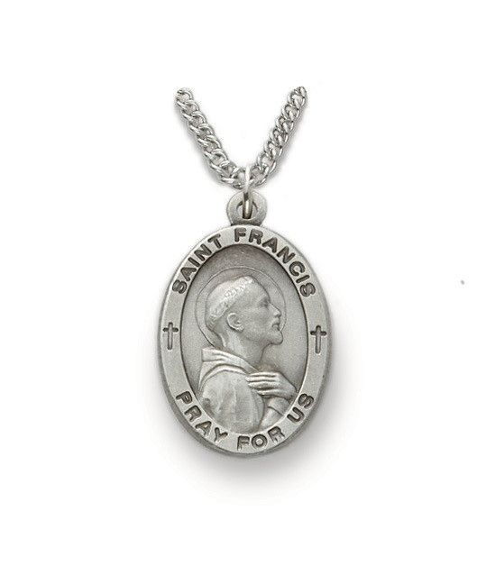 """Singer Sterling Silver St. Francis of Assisi Medal Pendant 24"""" Chain Necklace"""