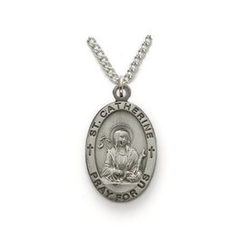 "Singer St. Catherine of Sienna Sterling Silver Medal Pendant 18"" Chain Necklace"