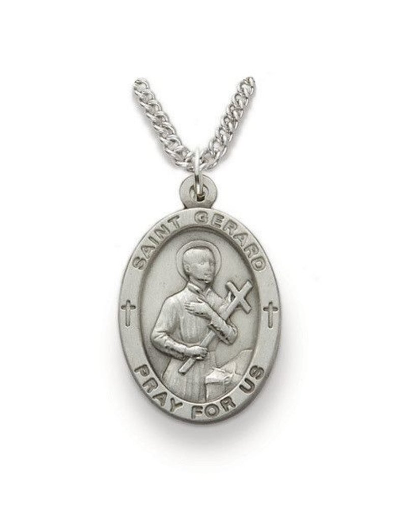 "Singer Sterling Silver St. Gerard Medal Pendant 24"" Chain Necklace"