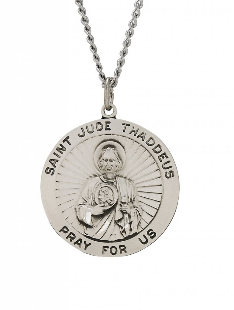 "Singer St. Jude Thaddeus Sterling Silver Medal Pendant 24"" Chain Necklace"