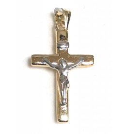 Wallace Brothers Manufacturing 14Kt White and Yellow Gold Multi-tone Crucifix Pendant