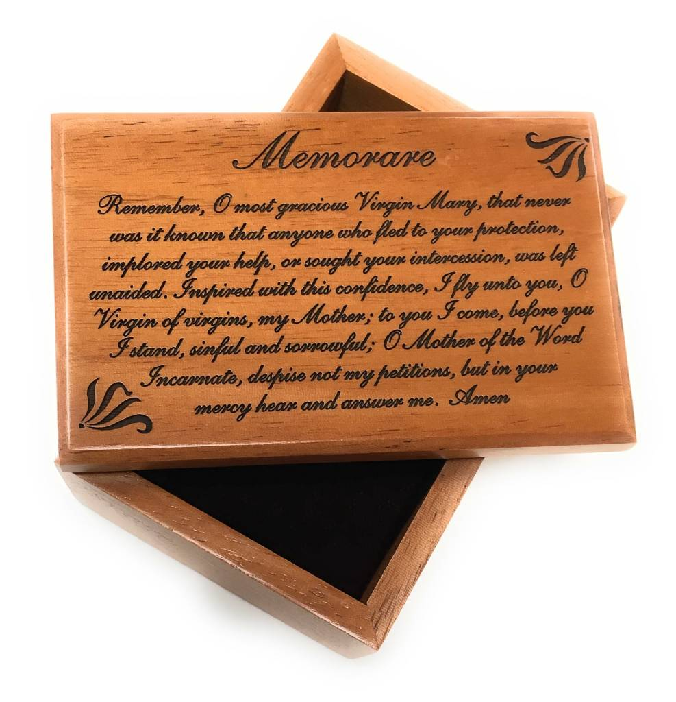 HJ Sherman Memorare Prayer Wooden Keepsake Box