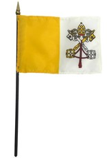 "Express Flags 4"" x 6"" Vatican City Papal Flag on 3/16"" x 10"" Pole"