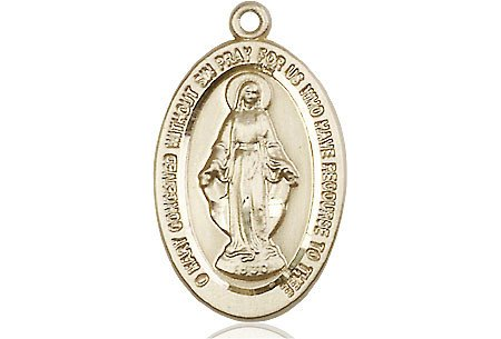 "Bliss Manufacturing 7/8"" x 1/2"" Gold Filled Miraculous Medal"