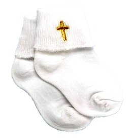 "Roman, Inc Baby's Baptism Socks with Embroidered Cross (4"")"