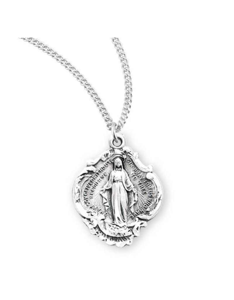 """HMH Religious Sterling Silver Miraculous Medal Baroque With 18"""" Chain Necklace"""