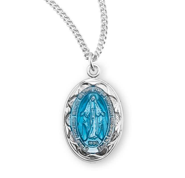 """HMH Religious Sterling Silver Blue Miraculous Medal With 18"""" Chain Necklace"""