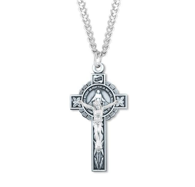 "HMH Religious Sterling Silver Miraculous Medal Crucifix With 24"" Chain Necklace"