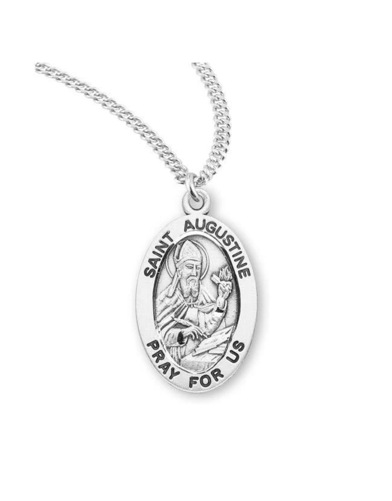 """HMH Religious Sterling Silver St. Augustine Medal With 20"""" Necklace"""