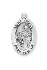 "HMH Religious Sterling Silver St. Grace Medal With 18"" Chain Necklace"