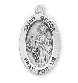 """HMH Religious Sterling Silver St. Grace Medal With 18"""" Chain Necklace"""