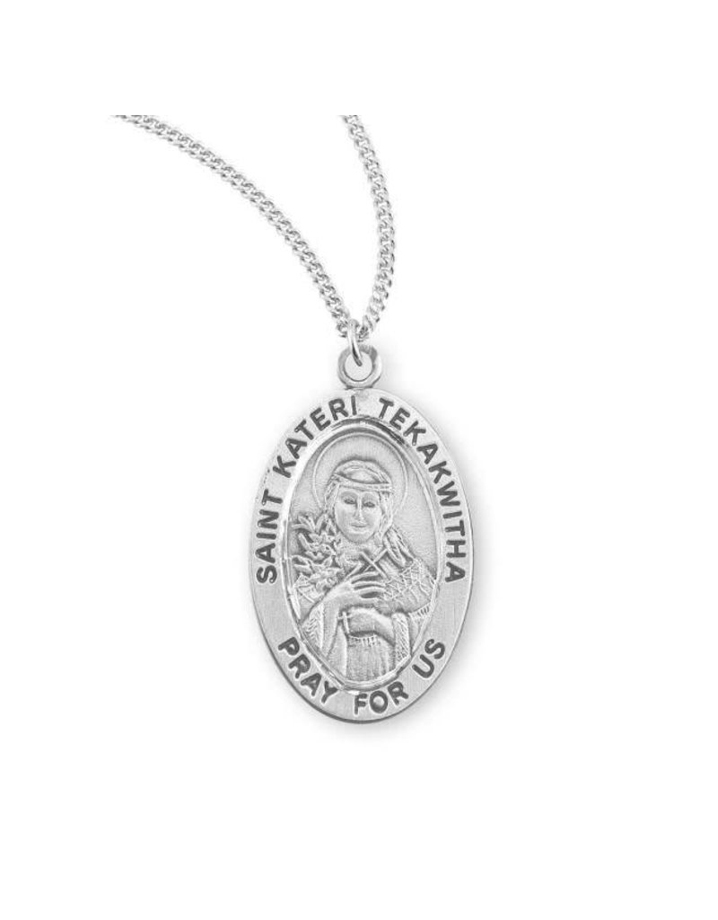 """HMH Religious Sterling Silver St. Kateri Tekakwitha Medal With 18"""" Chain Necklace"""