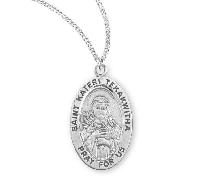 "HMH Religious Sterling Silver St. Kateri Tekakwitha Medal With 18"" Chain Necklace"