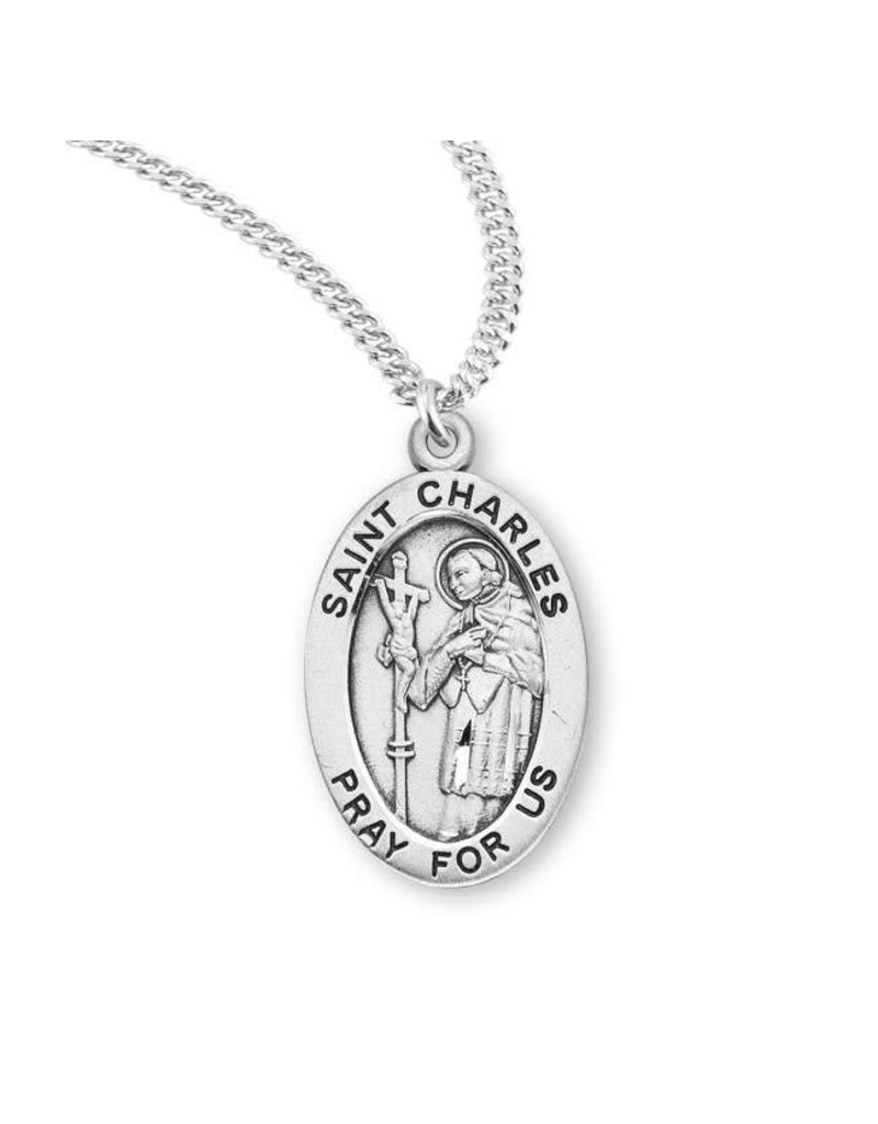 "HMH Religious Sterling Silver St. Charles Medal With 18"" Chain Necklace"