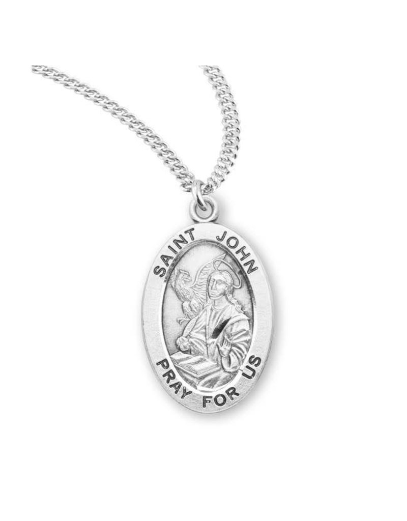 "HMH Religious Sterling Silver St. John Medal With 20"" Chain Necklace"