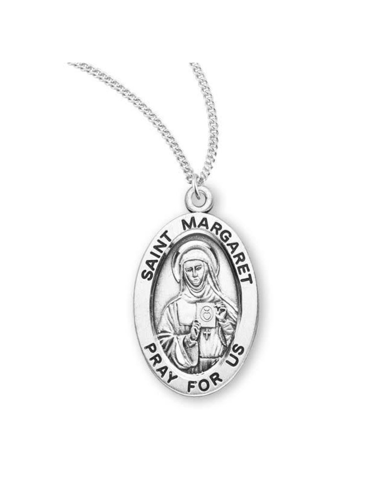 """HMH Religious Sterling Silver St. Margaret Medal With 18"""" Chain Necklace"""