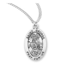"""HMH Religious Sterling Silver St. George Medal With 20"""" Chain Necklace"""