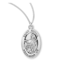 """HMH Religious Sterling Silver St. Sophia Medal With 18"""" Chain Necklace"""