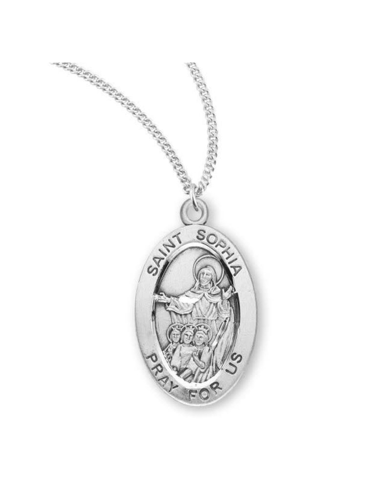 "HMH Religious Sterling Silver St. Sophia Medal With 18"" Chain Necklace"