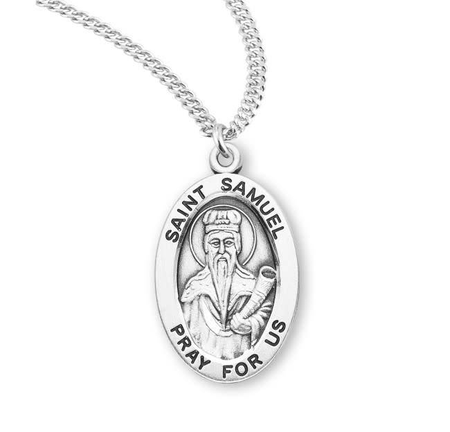 "HMH Religious Sterling Silver St. Samuel Medal With 20"" Chain Necklace"