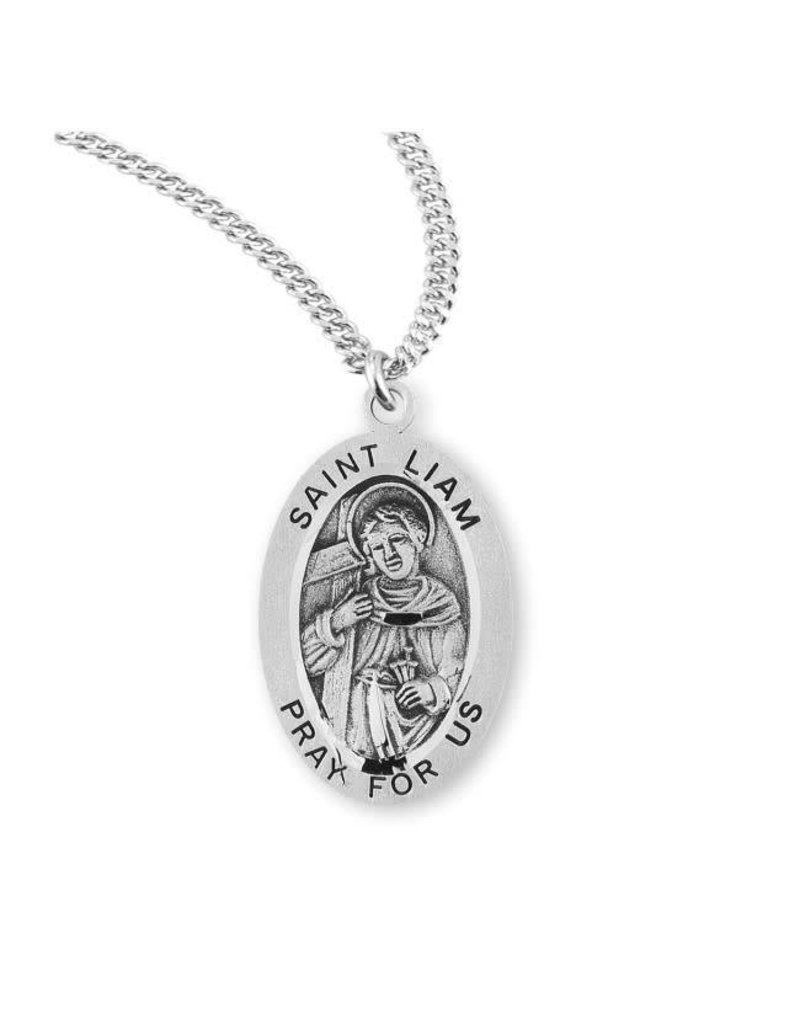 """HMH Religious Sterling Silver St. Liam Medal With 20"""" Chain Necklace"""